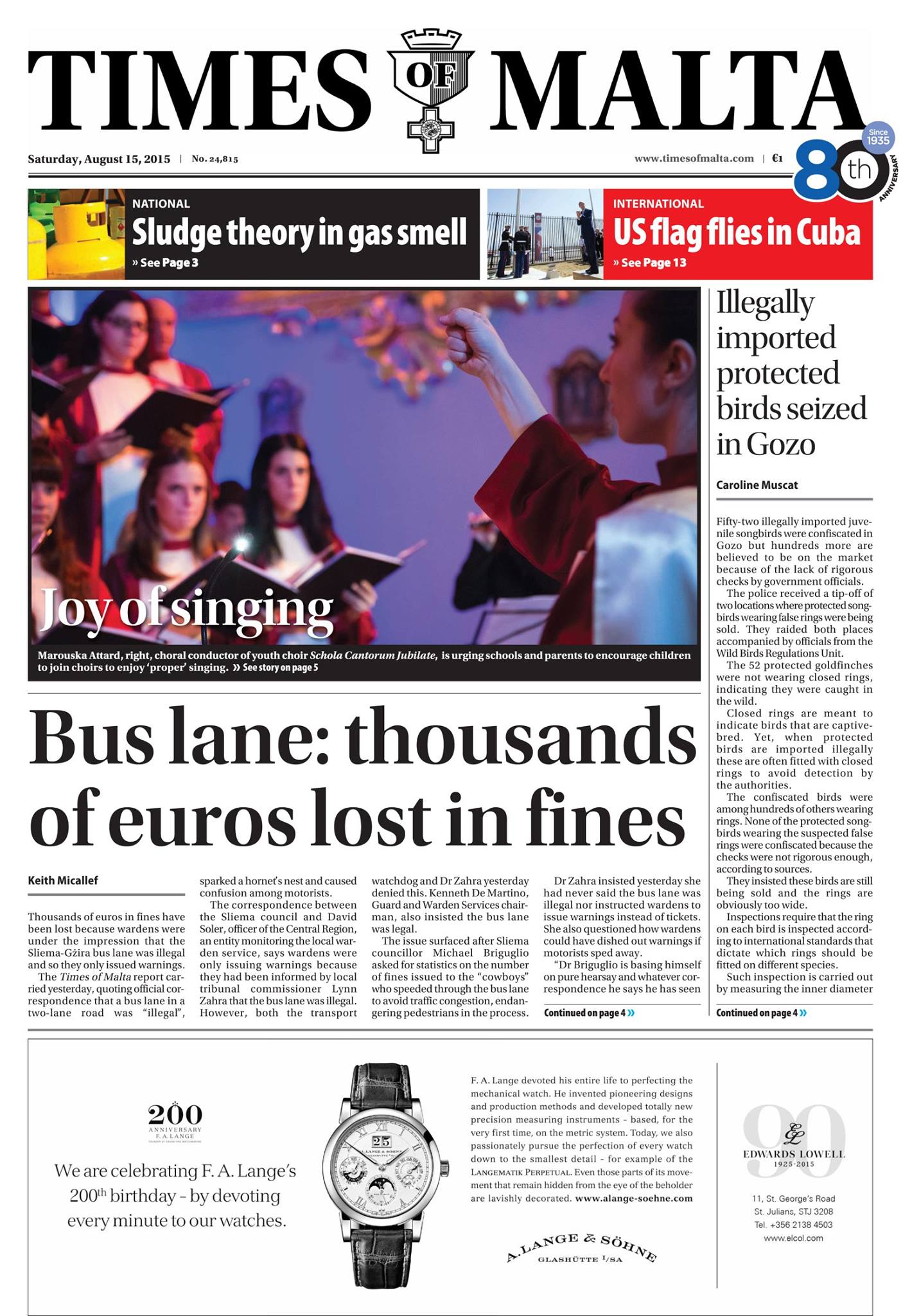 Front page of Times of Malta 15th August 2015
