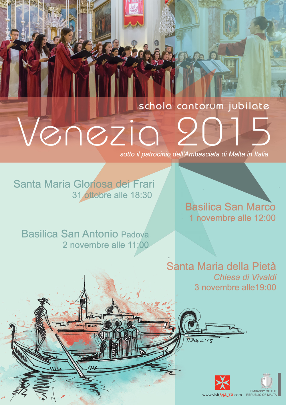 Agenda for Schola Cantorum Jubilate Italy Tour to Venice and Padua
